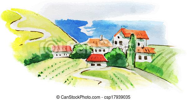 vigneto, paesaggio, acquarello, dipinto - csp17939035
