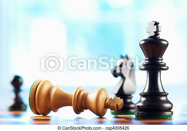 vincitore, re, defeats, scacchi, bianco - csp4008426