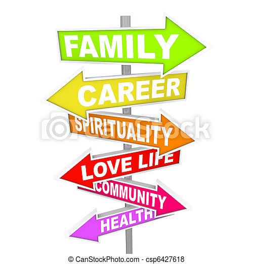 vita, cose, -, priorities, importante, freccia, segni, equilibrio - csp6427618