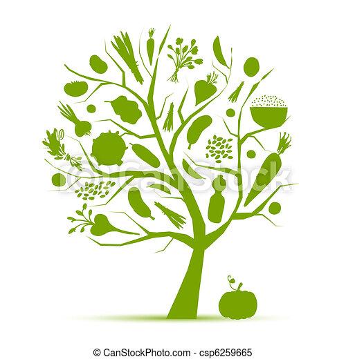 vita, sano, albero, verdura, -, verde, disegno, tuo - csp6259665