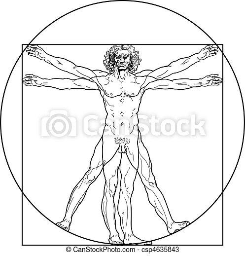 vitruvian, (outline, version), uomo - csp4635843