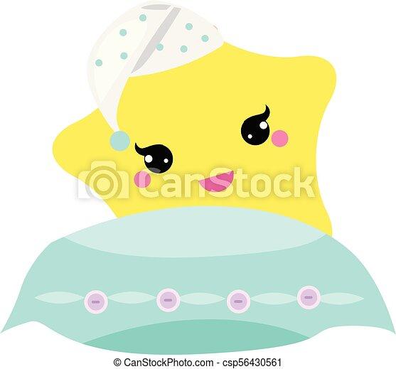 vivaio, carino, concetto, stella, dolce, hight, illustrazione, buono, vettore, hat., bambino, notte, cuscino, fare un sogno, design. - csp56430561