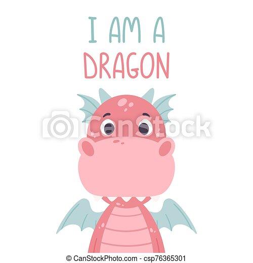vivaio, stampa, vettore, mano, carino, posters., bianco, dragon., citazione, rosa, illustrazione, -, fondo., capretto, drago, iscrizione, disegnato, manifesto - csp76365301