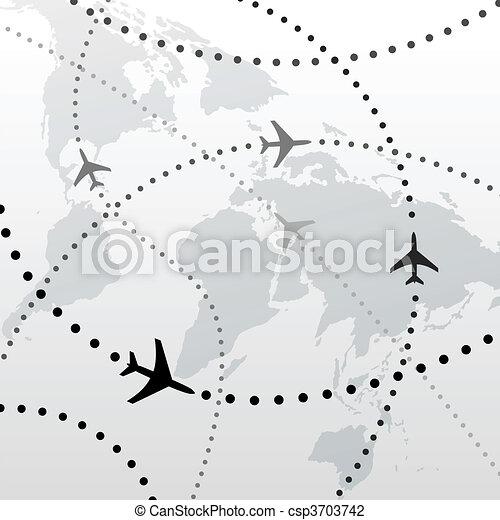 volo, progetti, viaggiare, collegamenti, mondo, aeroplano - csp3703742