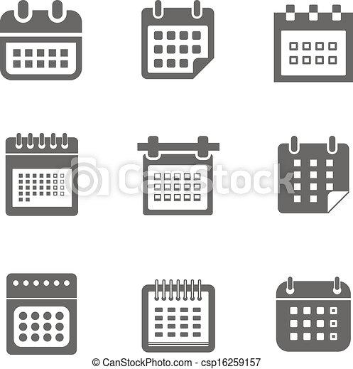 web, calendario, collezione, icone - csp16259157