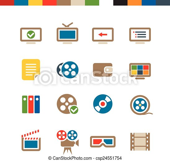 web, cinema, collezione, icone - csp24551754