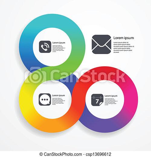 web, colorare, infographic, striscia, sagoma, cerchio - csp13696612