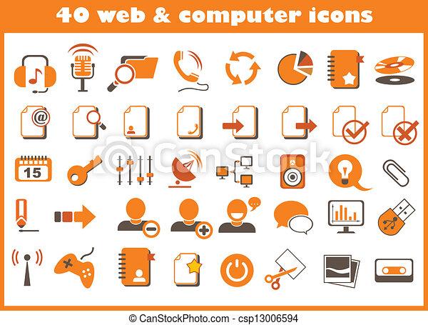 web, computer, 40, icone - csp13006594