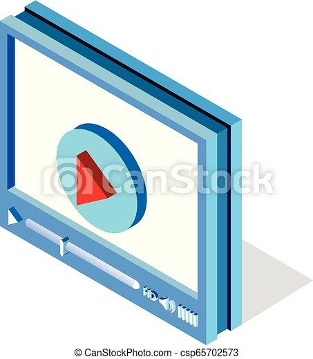 web, isometrico, mobile, application., luogo, illustrazione, giocatore, vettore, video, interfaccia, disegno, bianco, o - csp65702573