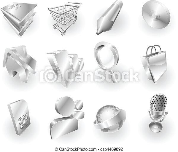 web, metallo, set, icona, domanda, metallico - csp4469892