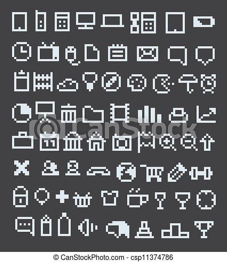 web, pixel, collezione, icone - csp11374786