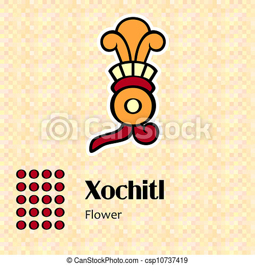 xochitl, simbolo, azteco - csp10737419