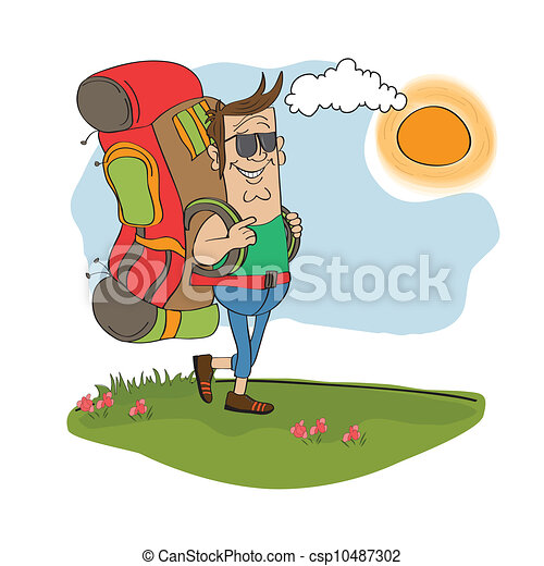 zaino, uomo, viaggiare, turista - csp10487302