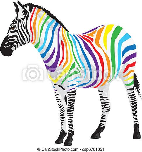 zebra., differente, striscie, colors. - csp6781851